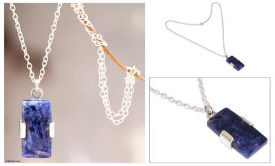 Sodalite pendant necklace, 'Hug' - Artisan Crafted Sterling and Sodalite Pendant Necklace
