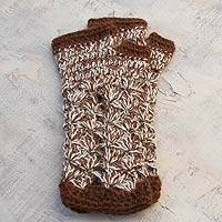 100% alpaca fingerless mitts, 'Cinnamon Bouquet'