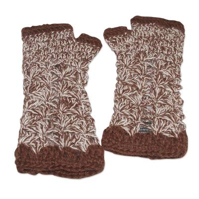 100% alpaca fingerless mitts, 'Cinnamon Bouquet' - Handcrafted Alpaca Wool Crochet Gloves from Peru