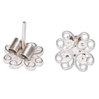 Sterling silver flower earrings, 'Andean Blossom' - Hand Crafted Floral Sterling Silver Button Earrings