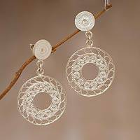 Sterling silver filigree dangle earrings, 'Circles of Lace' - Sterling silver filigree dangle earrings