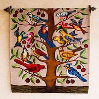 Wool tapestry, 'Birds in a Cherry Tree'