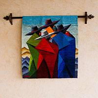 Wool tapestry, 'A Walk in the Andes' - Wool tapestry