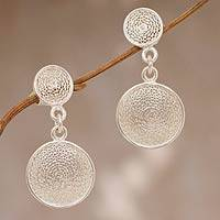 Sterling silver filigree dangle earrings, 'Double Starlit Moons' - Hand Made Sterling Silver Dangle Earrings