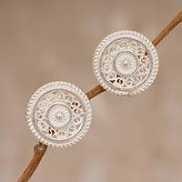 Sterling silver filigree button earrings, 'Silver Illusion'