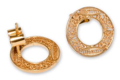 Gold plated filigree earrings, 'Solar Auras' - Gold plated filigree earrings