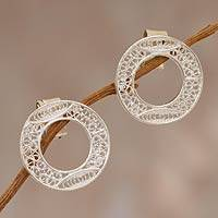 Sterling silver filigree earrings, 'Lunar Auras' - Circular Post Silver Earrings