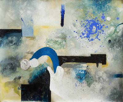 'The Dark Bridge' (2003) - Architectural Abstract Painting (2003)