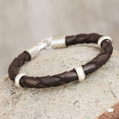 Men's leather bracelet, 'Chankas Warrior in Dark Brown' - Men's leather bracelet