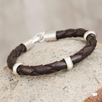 Men's leather bracelet, 'Chankas Warrior in Dark Brown' - Men's leather bracelet