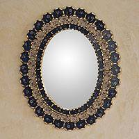 Reverse painted glass mirror, 'Blue Floral Halo' - Blue Wall Mirror Oval Reverse Painted Glass from Peru