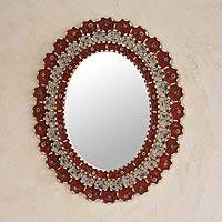 Reverse painted glass mirror, 'Red Floral Halo' - Reverse painted glass mirror