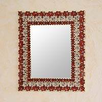 Reverse painted glass mirror, 'Red Floral Paradise' - Reverse painted glass mirror