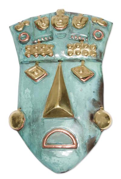 Copper and bronze mask, 'Auqui Inca Prince' - Inca Copper Bronze Mask