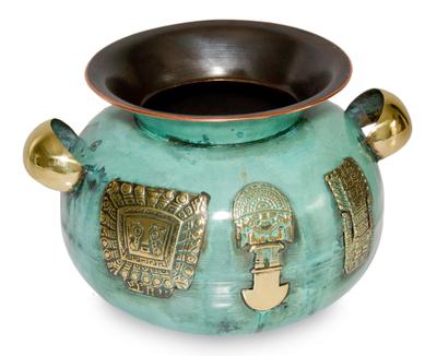 Copper and bronze vase, 'Inca Symbolism' - Decorative Copper and Bronze Vase from Peru
