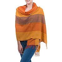 100% alpaca shawl, 'Tarma Sunflower'