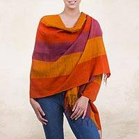 100% alpaca shawl, 'Tarma Marigold' - Handcrafted Orange Alpaca Wool Shawl from Peru