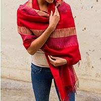 100% alpaca shawl, 'Red Rose of Tarma'