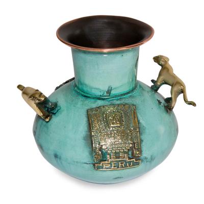 Bronze and copper vessel, 'Powerful Puma' - Bronze and copper vessel