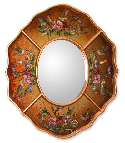 Reverse painted glass mirror, 'Ochre Hummingbirds' - Reverse painted glass mirror