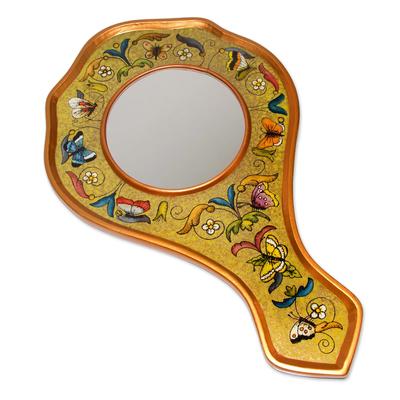 Reverse painted glass hand mirror, 'Lemon Butterflies' - Reverse painted glass hand mirror