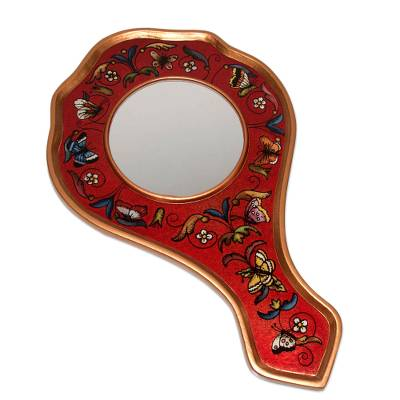 Reverse painted glass hand mirror, 'Scarlet Butterflies' - Reverse painted glass hand mirror