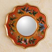 Reverse painted glass mirror, 'Carnelian Butterfly Sky' - Handcrafted Reverse-Painted Glass Wall Mirror from Peru