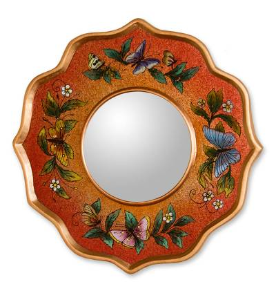 Reverse painted glass mirror, 'Carnelian Butterfly Sky' - Collectible Reverse Painted Glass Butterfly Wall Mirror