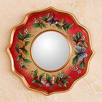 Reverse painted glass mirror, 'Strawberry Butterfly Sky' - Reverse painted glass mirror
