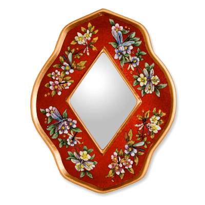 Reverse painted glass mirror, 'Red Summer Garden' - Handcrafted Reverse Painted Glass Mirror