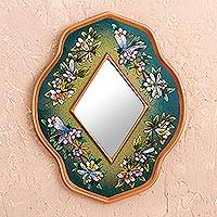 Reverse painted glass mirror, 'Green Summer Garden' - Unique Glass Butterfly Mirror in Limpet Shell Green
