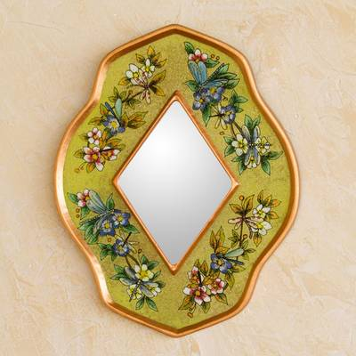 Reverse painted glass mirror, 'Yellow Summer Garden' - Andean Handcrafted Reverse Painted Glass Wall Mirror