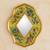 Reverse painted glass mirror, 'Yellow Summer Garden' - Andean Handcrafted Reverse Painted Glass Wall Mirror thumbail
