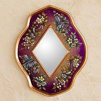 Reverse painted glass mirror, 'Purple Summer Garden' - Handcrafted Peruvian Floral Glass Mirror in Purple