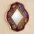 Reverse painted glass mirror, 'Purple Summer Garden' - Handcrafted Floral Glass Mirror (image 2) thumbail