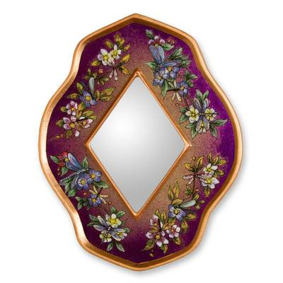 Reverse painted glass mirror, 'Purple Summer Garden' - Handcrafted Floral Glass Mirror