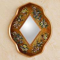 Reverse painted glass mirror, 'Golden Summer Garden'