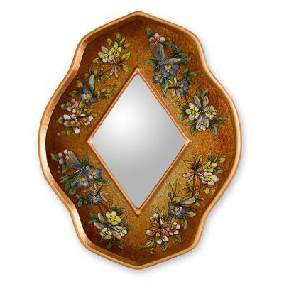 Reverse painted glass mirror, 'Golden Summer Garden' - Artisan Crafted Floral Reverse Painted Glass Mirror