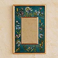 Reverse painted glass mirror, 'Turquoise Fields' - Unique Peruvian Reverse Painted Glass Mirror