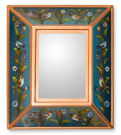 Reverse painted glass mirror, 'Song to Life' - Blue Bird Theme Andean Reverse Painted Glass Mirror