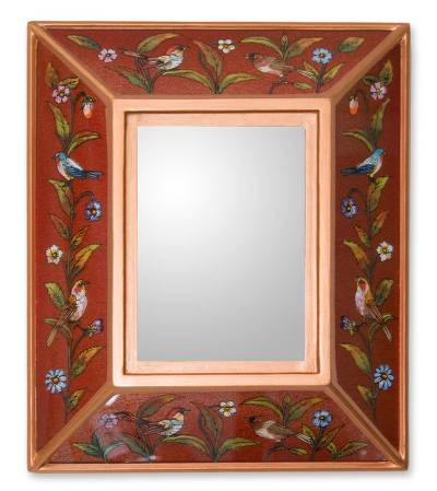 Reverse painted glass mirror, 'Song to Love' - Unique Three Dimensional Glass Mirror