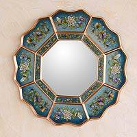 Reverse painted glass mirror, 'Blue Blossom Fiesta' - Reverse painted glass mirror