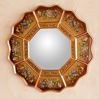 Reverse painted glass mirror, 'Ginger Blossom Fiesta' - Peruvian Reverse Painted Mirror