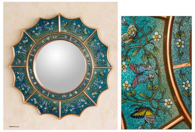 Reverse painted glass mirror, 'Blue Summer Radiance' - Reverse Painted Glass Round Wall Mirror from Peru