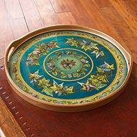 Painted glass tray, 'Turquoise Sky' - Painted glass tray