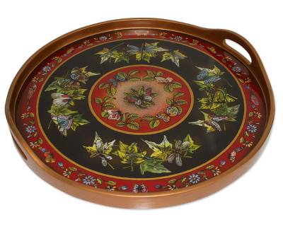 Reverse painted glass tray, 'Midnight Sky' - Black and Red Reverse Painted Glass Circular Tray
