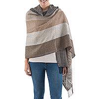 100% alpaca shawl, 'Fallow Fields' - 100% alpaca shawl