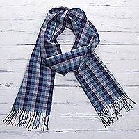 Men's 100% alpaca scarf, 'Andean Dawn'