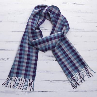 Men's 100% alpaca scarf, 'Andean Dawn' - 100% alpaca scarf