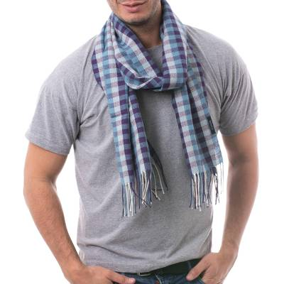 Men's 100% alpaca scarf, 'Andean Dawn' - Handwoven Blue and White 100% Alpaca Scarf with Purple